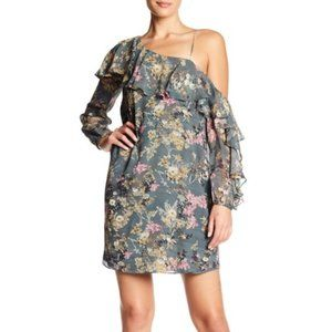 Haute Hippie One Cold Shoulder floral silk dress
